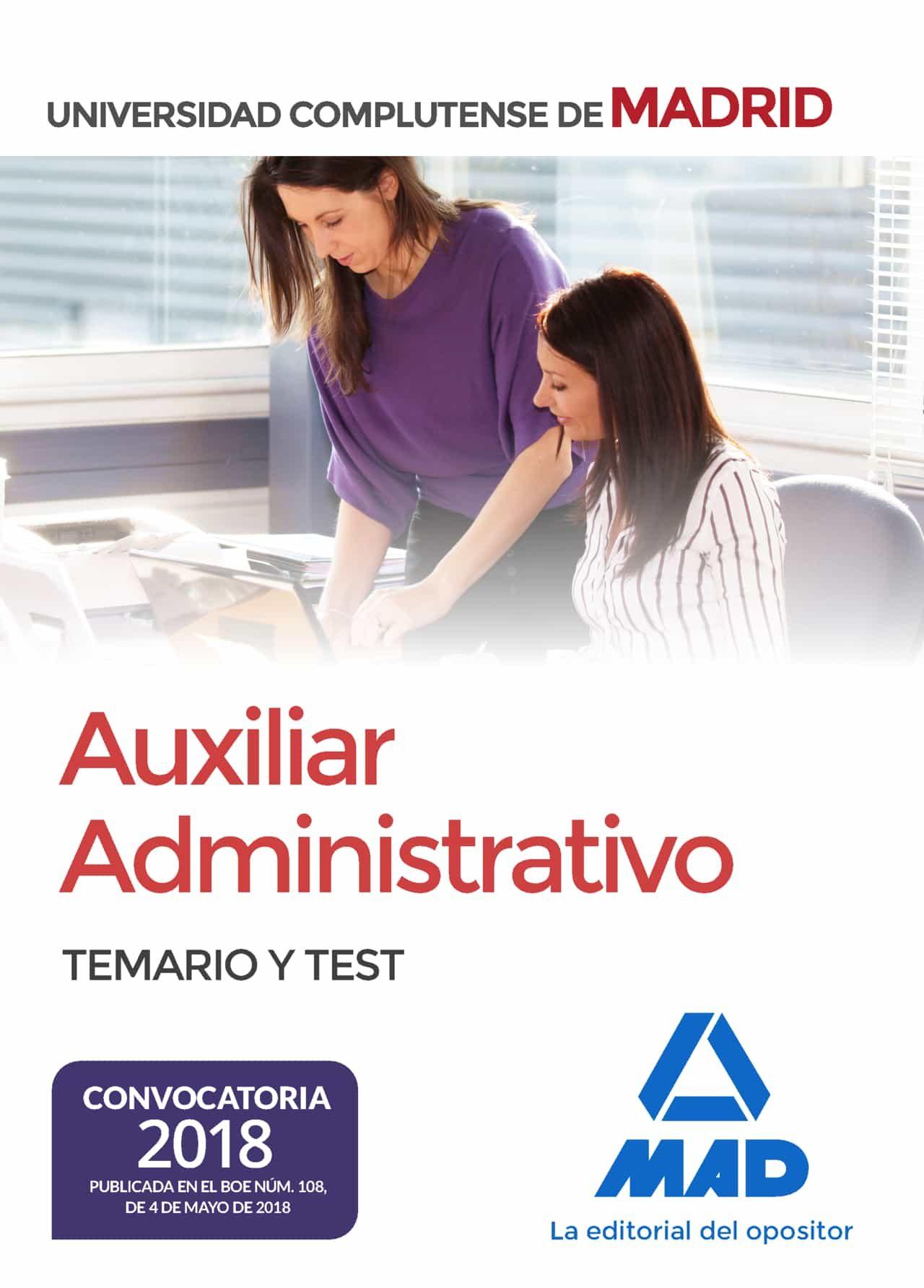 Auxiliar Administrativo De La Universidad Complutense De Madrid: Temario Y Test por Vv.aa.