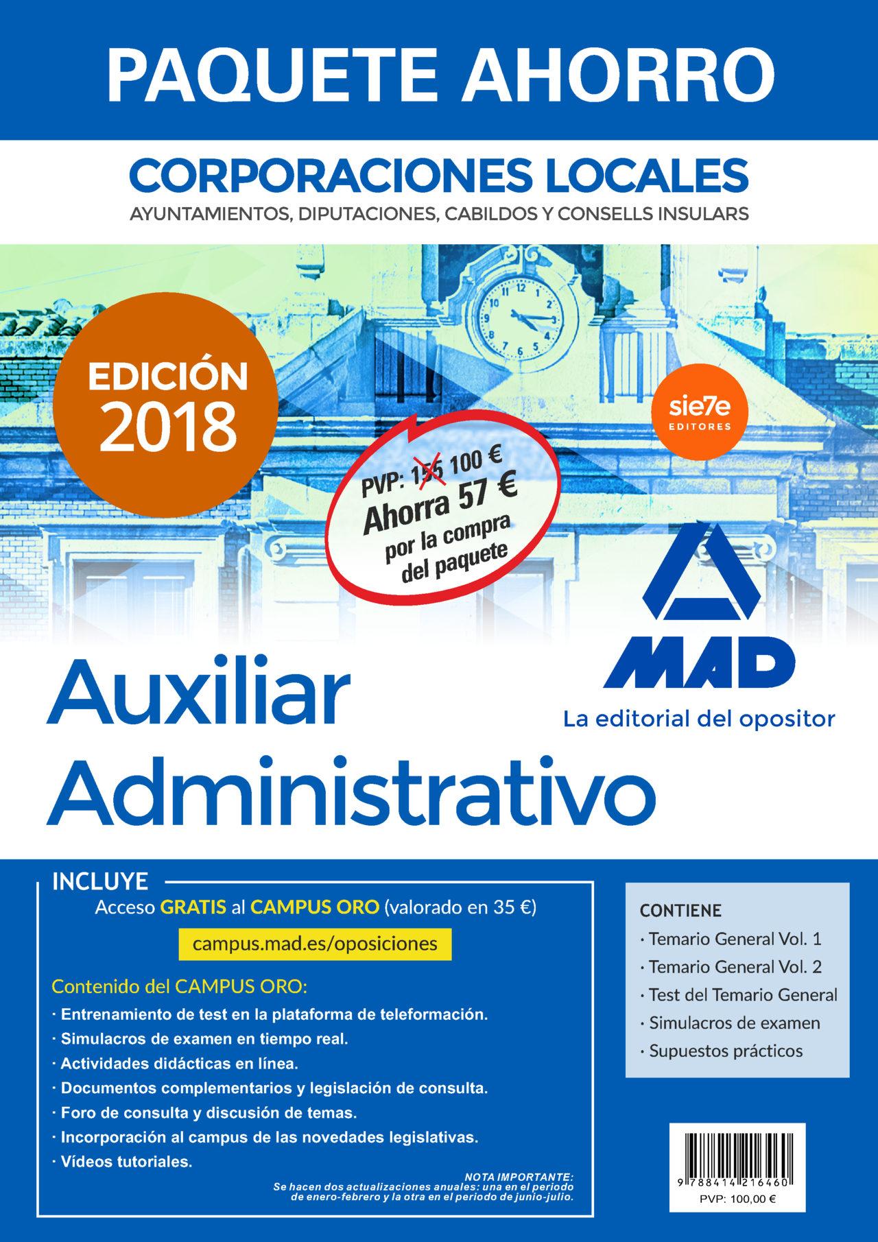 paquete ahorro auxiliar administrativo de corporaciones locales. (incluye temario general volúmenes 1 y 2; test del-9788414216460