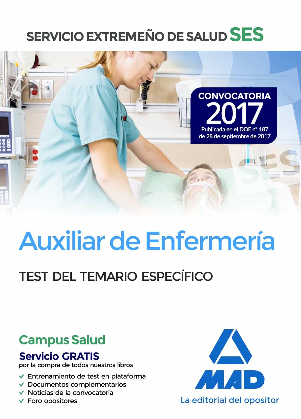 auxiliar de enfermeria del servicio extremeño de salud (ses): test parte especifica-9788414210970