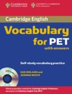 cambridge vocabulary for pet: edition with answers and audio cd 9780521708210