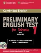 cambridge pet for schools 1: student s book with answers-9780521168250