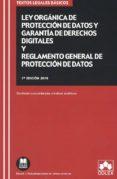 LEY ORGÁNICA DE PROTECCIÓN DE DATOS Y GARANTÍA DE DERECHOS DIGITALES Y REGLAMENTO GENERAL DE PROTECCIÓN DE DATOS - 9788417618230 - VV.AA.