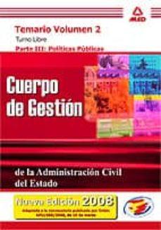 Viamistica.es Cuerpo De Gestion De La Administracion Civil Del Estado. Temario (Vol. Ii): Turno Libre. Parte Iii: Politicas Publicas Image